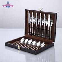 24 шт. Набор ножей столовые приборы матовая ручка нержавеющая сталь ножи набор ложек и вилок посуда набор кухня вечерние деревянная подарочная коробка