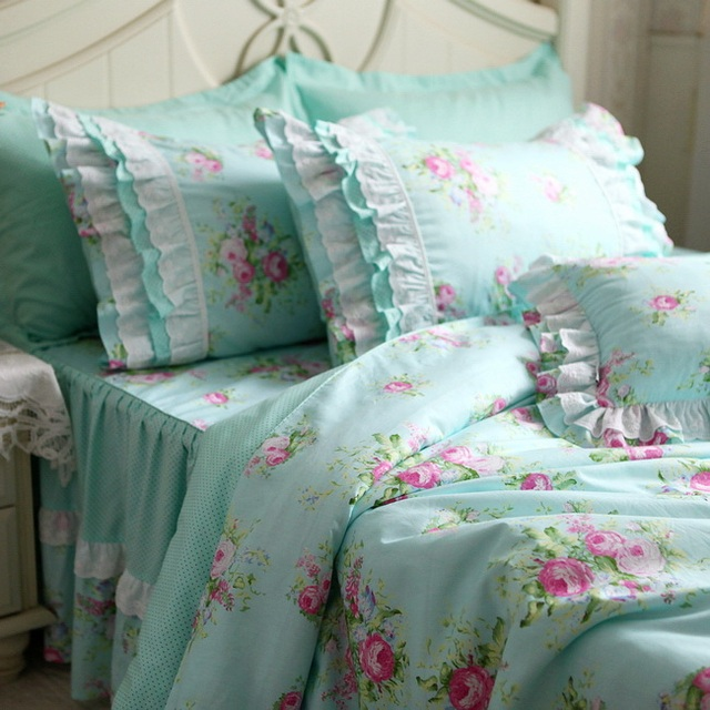 Rural Turquoise Polka Dots Pink Flower Ruffle Embroidered Lace Bedding Sets Blue Rose Duvet Cover