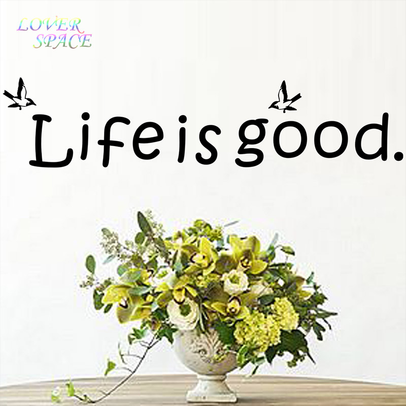 English quote life is good removable vinyl wall decals for Life is good home decor