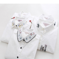Dioufond Embroidery Floral White Shirt Long Sleeve Women Blouses Color Print Shirt Cotton Casual Women Blusas