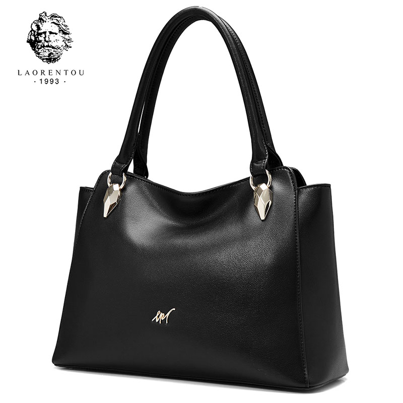 LAORENTOU Brand Female Sexy Black Split Leather Tote Women Noble Handle Bags Gift for Lady