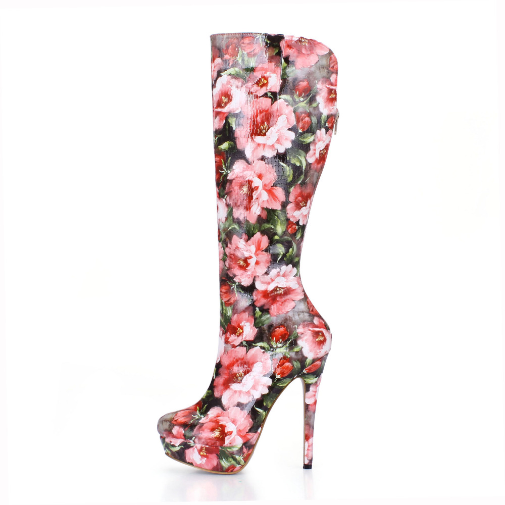 Brand New Autumn Winter Flower Women Boots High Heels Sexy Platform Knee High Boots Ladies Shoes High Heel Pumps Boots brand new autumn winter flower women