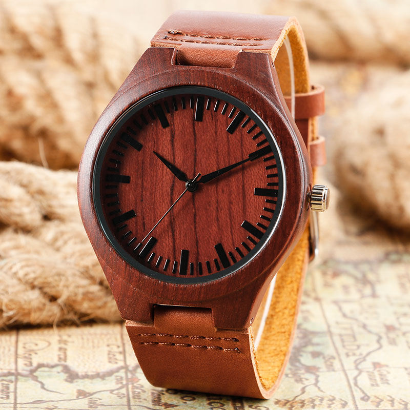 Fashion Red Natural Wood Quartz Watch Sandal Bamboo Wooden Wrist Watch with Leather Strap Amazing Novel Clock Gift for Men