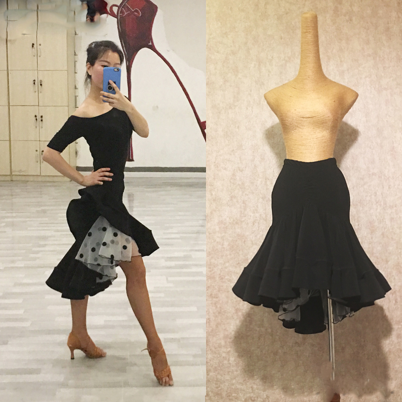 Latin dance skirts class dress female adult dance performance skirts wave point half length buttock fish tail large skirt L47