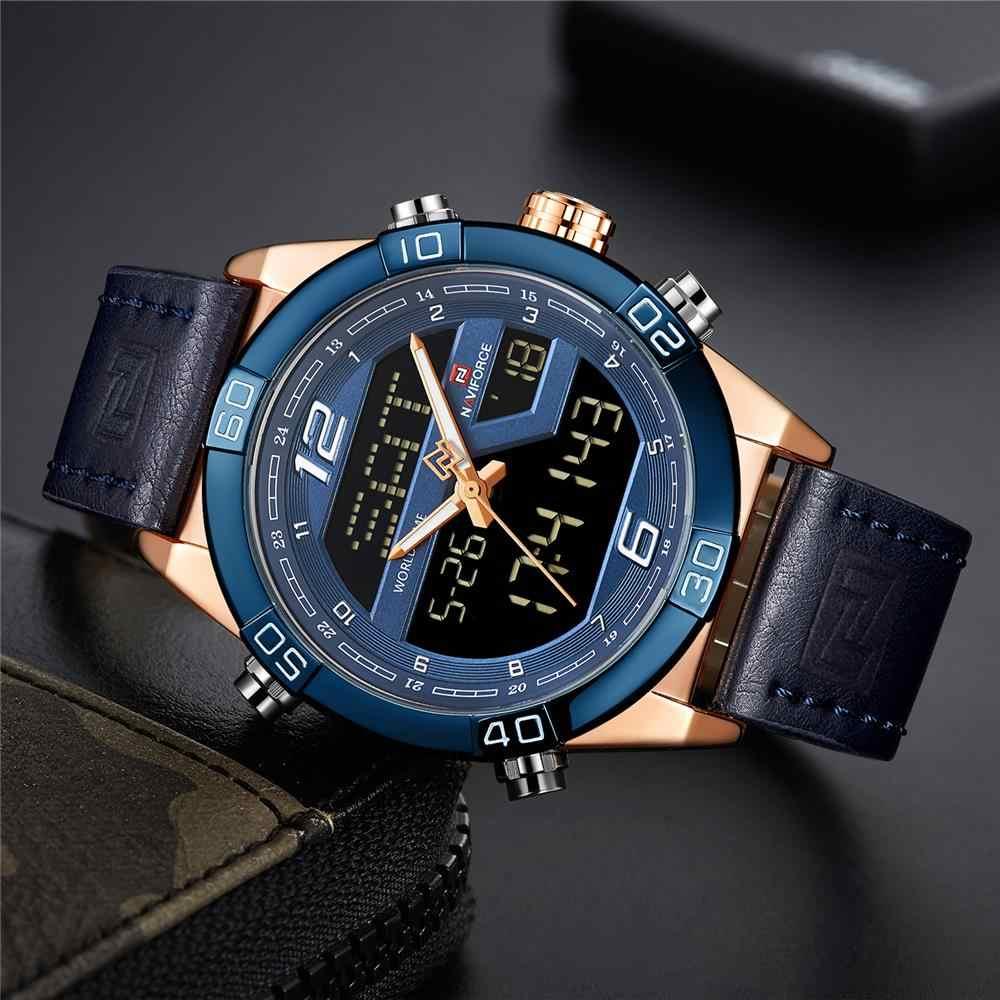 NAVIFORCE יוקרה מותג גברים אופנה ספורט שעונים של גברים עמיד למים קוורץ תאריך שעון איש עור צבא צבאי שעון יד 2019