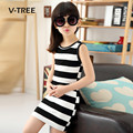 V-TREE Summer Teenagers Clothes Girls Dress Striped Sleeveless Fashion Sundress For Girl School Kids Children Dress 3-12 Year