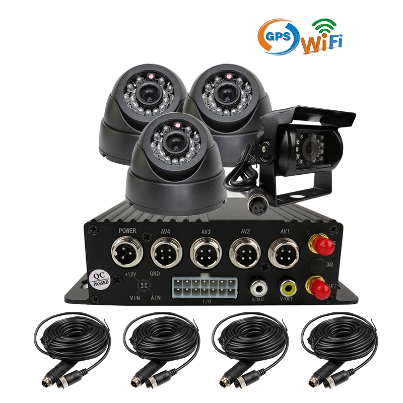 Free Shipping I/O H.264 4CH SD WiFi GPS Track Mobile Car DVR Video Recorder Rear Back In Car Dome Camera Phone PC Realtime View free shipping 4ch gps 3g track h 264 i o 256gb sd car mobile dvr recorder mdvr realtime monitor for phone pc for truck van