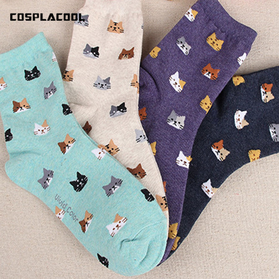 [COSPLACOOL] 5 colors meias sokken Hosiery Ladies cute Female Autumn New   sock   Animal cartoon cat lovely for women cotton   socks