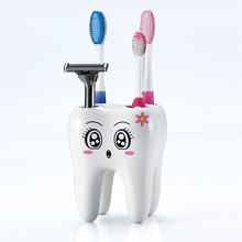 Novelty  Plastic 4 Hole Tooth Pattern Toothbrush Holder Bracket Container For Bathroom Home Organizer