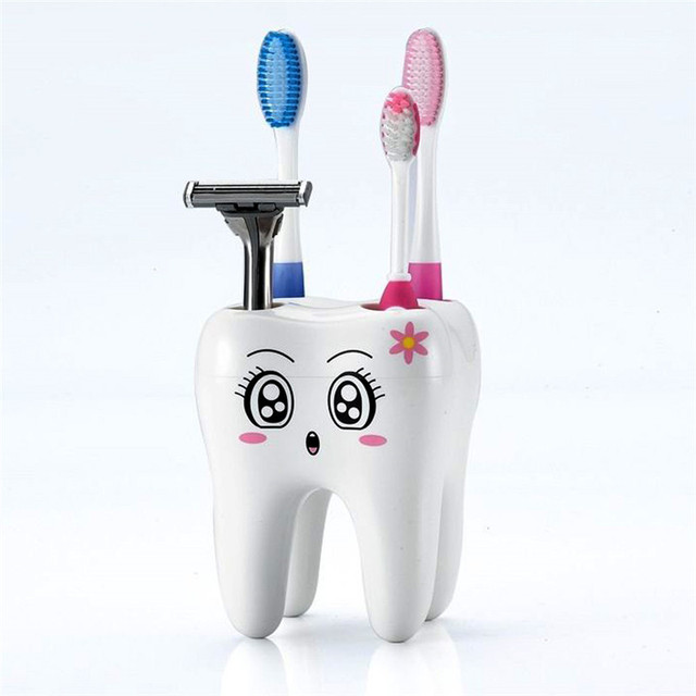Karikatür Diş Şekil 4 Delik Diş Fırçası Tutucu Standı Fırça Raf Diş Fırçası Raf tıraş bıçağı Depolama Tutucu için Banyo