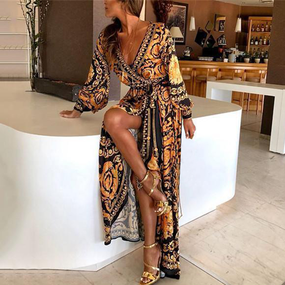 Litthing 2019 New Style Print Women Dress Sexy Boat Neck Glitter Fashion Deep V Neck Women Dress Formal Long Dress Sexy Clubwear