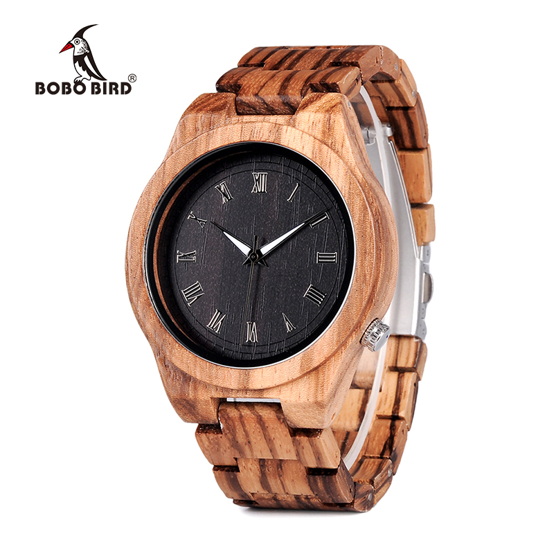BOBO BIRD WM30 Mens Watches Zebra Wooden Watch Full Wood Band Quartz Watch For Men as Gift Accept OEM Customize Relogio bobo bird wh05 brand design classic ebony wooden mens watch full wood strap quartz watches lightweight gift for men in wood box