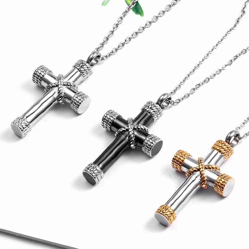 ZFVB Classic Cross Cremation Ashes Urn Necklace Keepsake Jewelry Stainless steel Gold Silver Black color Ashes Memorial Pendant