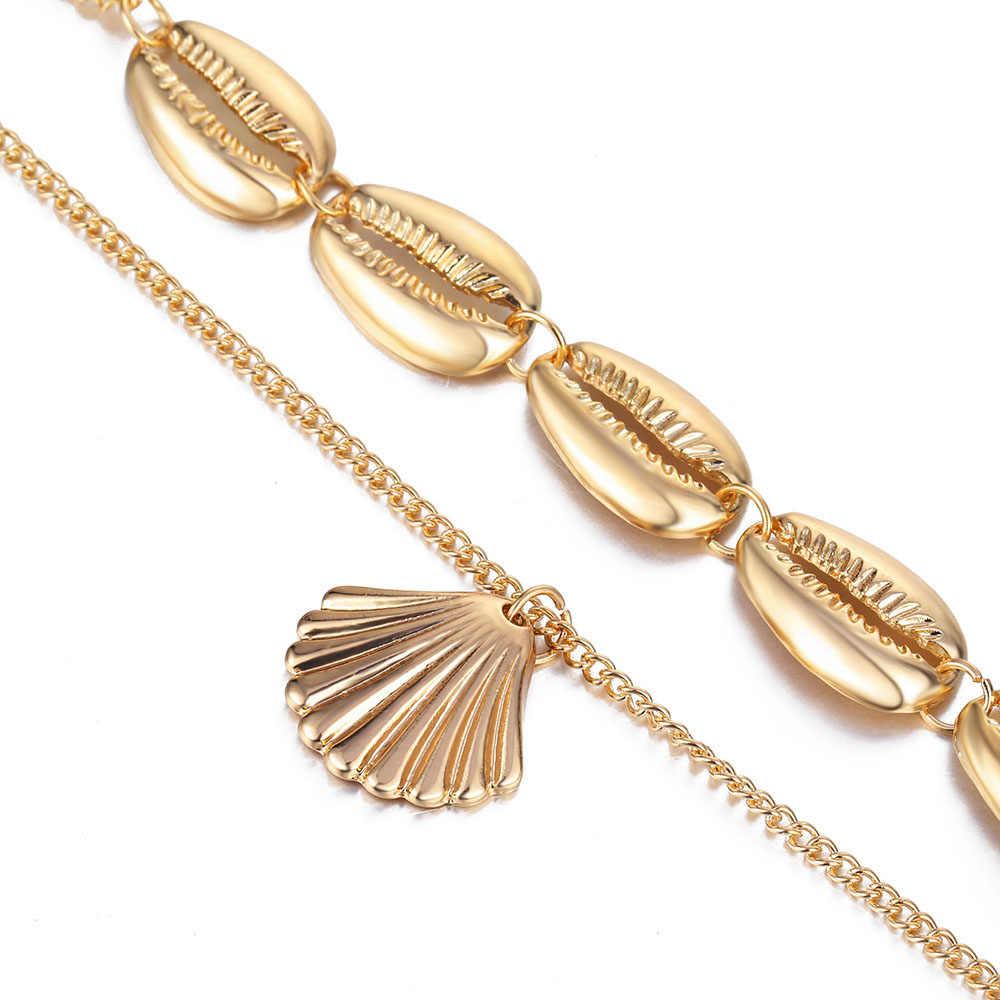 FAMSHIN 自由奔放に生きるファッション多層ゴールドシルバー色巻貝ペンダントネックレス女性のための海貝殻ビーチネックレスジュエリー