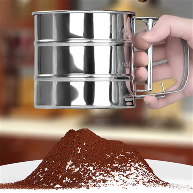 Hot Stainless Steel Flour Sieve Mugs Design Sifter Shaker Baking Pastry Tools Bakeware Strainer for Coffee Icing Sugar Powder