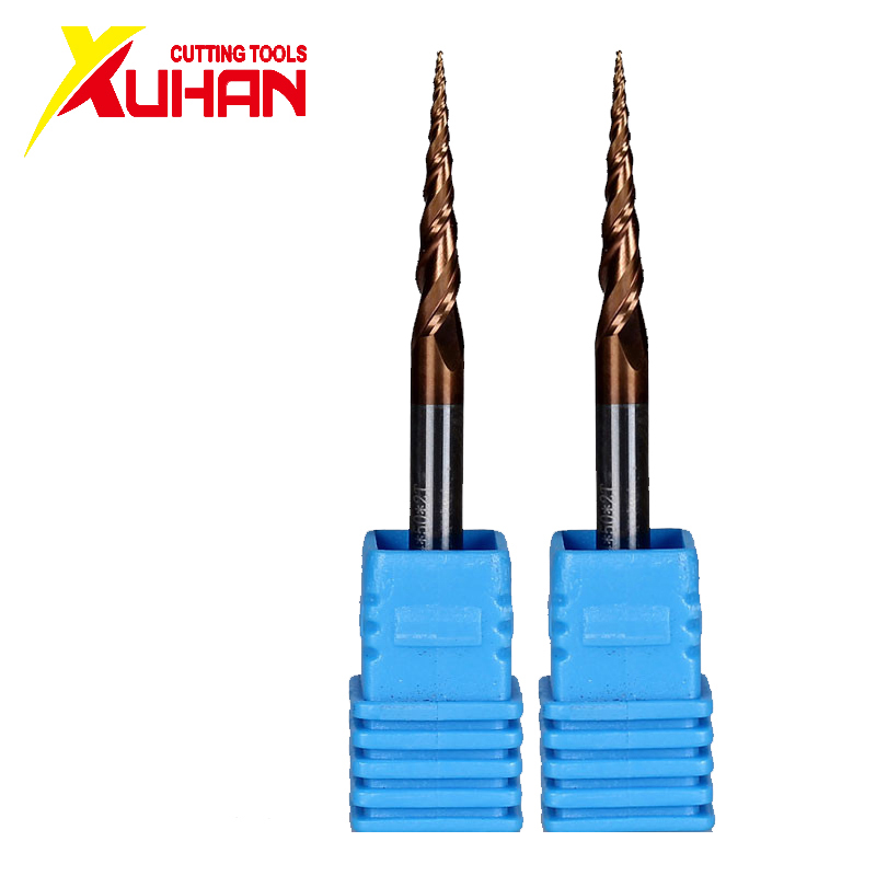 HRC62 Solid Carbide Ball Nose Tapered End Mills CNC Carving Bit Engraving Router