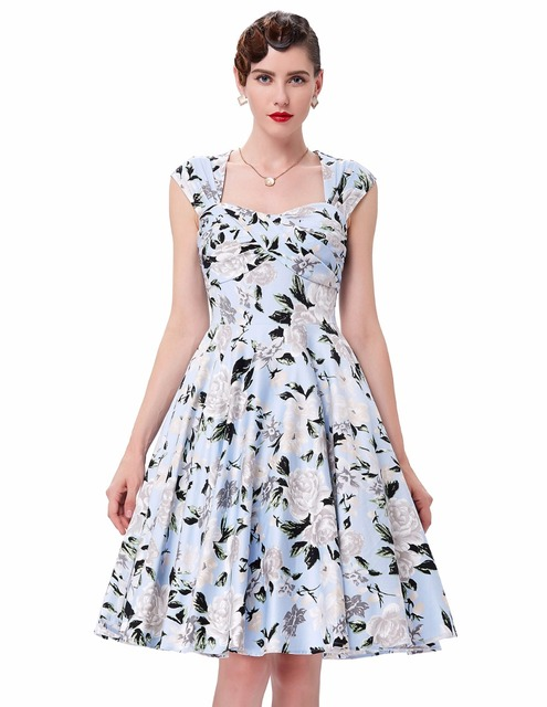 Womens dresses 2017 retro vestidos plus size short robe rockabilly casual women Audrey Hepburn floral print 50s vintage dress