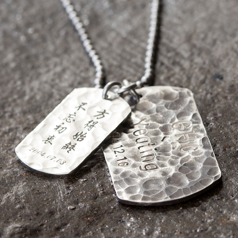 Personalized ID Army Tags Necklace 925 Sterling Sliver Engraved Customized Dog Tag Name Pendant Men Fine Jewelry No Chain vnox personalized id necklace pendant stainless steel silicone dog tag jewelry provide engrave record servise