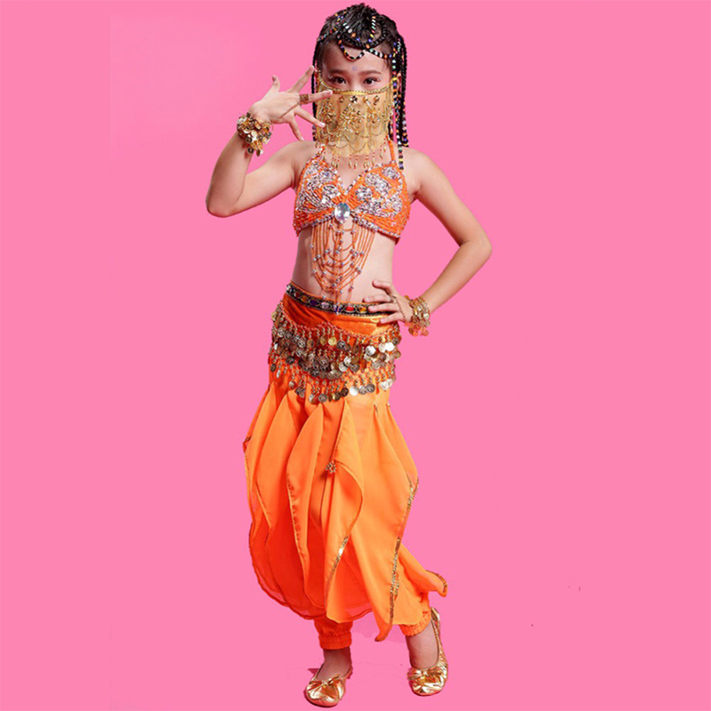 2017 filles danse du ventre robe 2 pièces soutien-gorge et jupe enfants vêtements pour danse enfant ventre danseur Costume rouge/Rose/jaune vêtements indiens