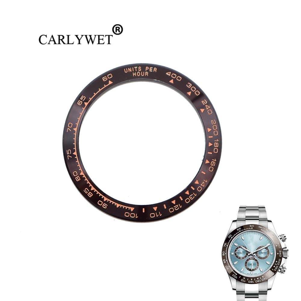 CARLYWET remplacement de haute qualité en céramique Pure marron avec des écrits en or Rose 38.6mm montre lunette pour DAYTONA 116500-116520