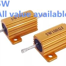 1 шт 5 Вт 33R 39R 40R 47R 50R 60R 68R 80R алюминиевый Мощность металлический корпус чехол с проволочной обмоткой резистор 33 Размеры 39-40 47 50 60 68 80 Ом 5 Вт 5