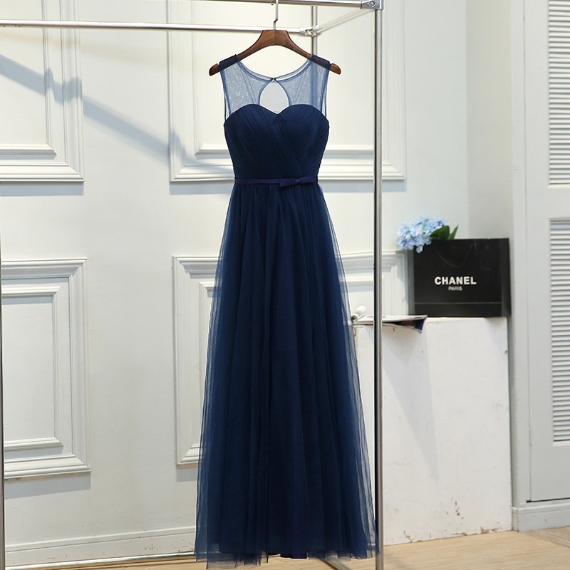 Free shipping new 2017 O-neck Wedding Party Bridesmaid Gowns Formal Long Quality Dress Dark Blue Clare Sleeveless Gowns YA010 4