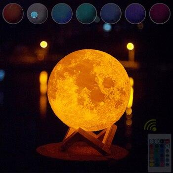 цена 8CM 3d Print Led Lamp Moon Night Light Kids Adult Valentine's Day Gifts Color Changing Touch Moon Lamp онлайн в 2017 году