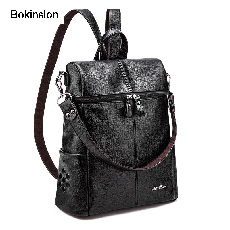 Bokinslon Girls College Backpack All-Match Cow Split Leather Bag Backpack Female College Wind Women Designer Backpack Casual sheepskin leather backpack backpack korean female line college students leisure wind pure simple fashion tide all match