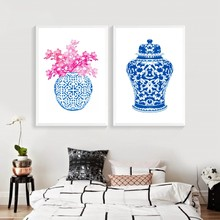 Blue and White Ginger Jar Print Chinoisierie Chic Canvas Art Painting Blue White Chinoiserie Vase and Porcelain Giclee Pictures(China)