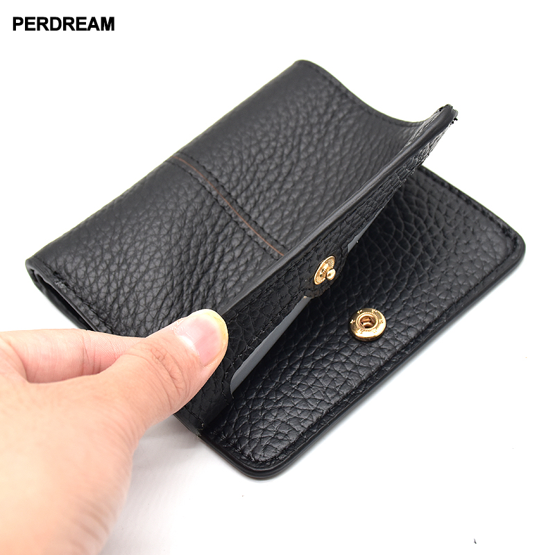 First layer Cow skin 2018 New Lady 39 s simple seams short leather wallets leather buckling ultra thin multi calorie wallet in Wallets from Luggage amp Bags