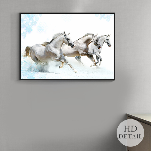 Running horse canvas painting black and white animal posters and prints unique gift wall art picture