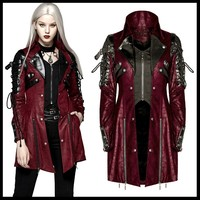 PUNK RAVE Women Gothic Vintage Handsome Leather Long Jacket Coats Steampunk Rubber Sleeve Punk Jacket Fashion Windbreakers