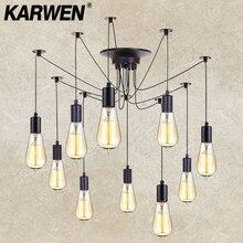 KARWEN Vintage araña negra luces colgantes 2M decoración de loft ajustable E27 luces colgantes araña lámpara de techo accesorio de luz