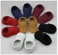 2016 Genuine Leather Baby Moccasins Black Red New Suede Newborn Baby Infant Toddler Soft Shoes Babe Soft Soled Prewalker Shoes