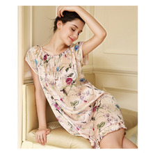 Free shipping 100% Pure Mulberry Floral Silk Nightgown Fashion Nightwear Soft Sleepwear Summer Dress Multicolor Size