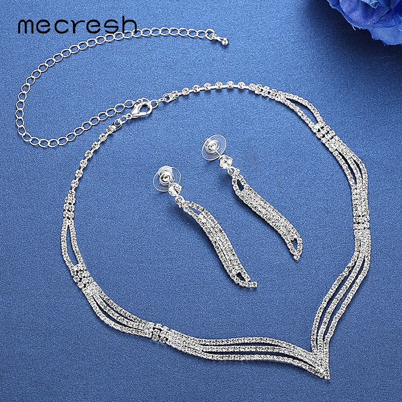 Mecresh Simple Crystal Bridal Jewelry Sets Silver Color Rhinestone Earrings Necklace Sets for Women Wedding Accessories TL296 3