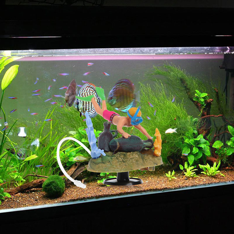 Fish font b Tank b font Ornament Submarine Treasure Hunt Aquarium Air operated Aquario Plantado Landscape