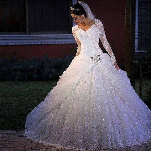 Vestido de Noiva Casamento Robe De Mariage 2019 Muslims Wedding Dresses Lace V-neck long Sleeves ball gown wedding dress lace