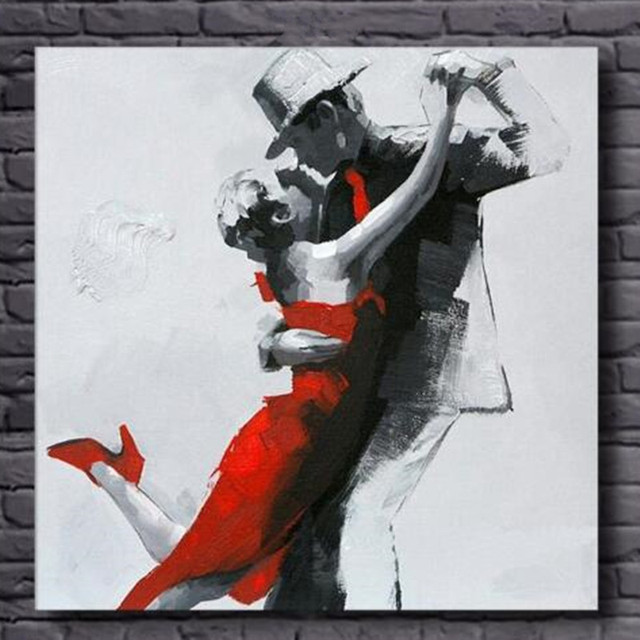 Modern Home Decor Wall Art Handpainted Abstract Figure Oil Painting Handmade Dancer Couples Paintings On Canvas