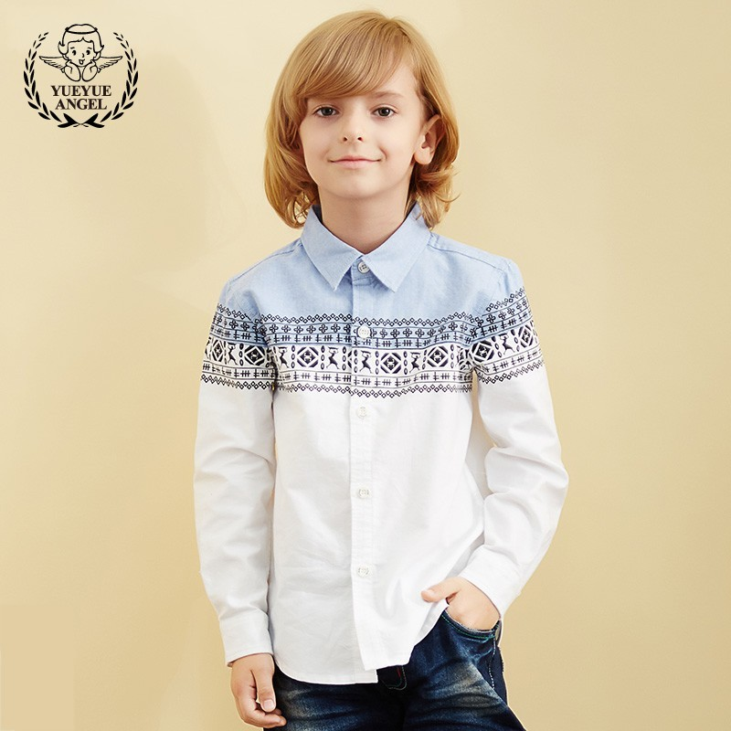 A White Blouse 2018 New Fashion Shirt For Boy Outerwear Turn-down Collar Boys Shirts Long Sleeve Tops Boys Soft Cotton Blouse petal sleeve self tie blouse