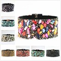 Hot sale various natural irregular stone and rhinestone velvet gravel magnetic clasp bracelets B664