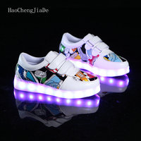 Fashion Breathable Kids LED Luminous Sneakers USB Rechargeable 2018 New Brand Child Boys Girls Glowing Sports