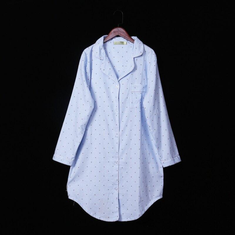 QWEEK 100% Cotton   Nightgown   Polka Dot Women Sleepwear Long Sleeve   Sleepshirts   2019 Spring Stripe Night Dress Soft Home Wear