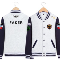 STOCK 2017 LOL SKT Team Uniform Cosplay Costume Long Sleeve Fashion Baseball Shirt X 3XL
