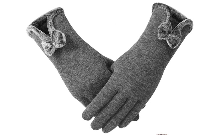 Womens Winter Buttons Touch Screen Gloves Outdoor Sports Warm bowknot Gloves Mittens Mittens Cashmere AA0037
