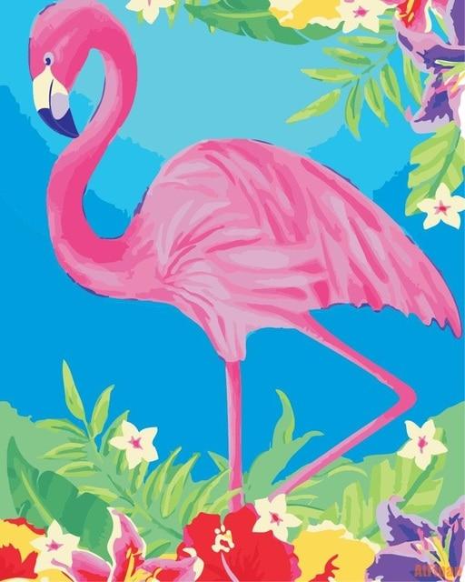 Flamingo Summer Flower DIY Framed Oil Painting By Numbers Bird ...