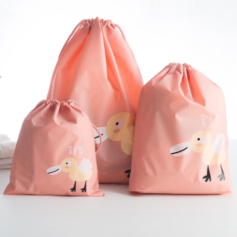 PINMOO Cartoon classification travel storage bag Waterproof draw string zip lock Clothing bra sock 3pcs/Set Packing