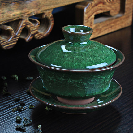 TANGPIN drinkware coffee tea sets ice green crack ceramic gaiwan tea cup chinese kung fu tea