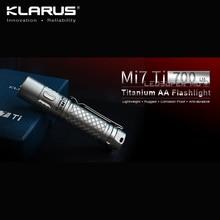 New Arrival KLARUS Mi7 Ti 700 Lumens CREE XP-L HI V3 LED Portable Titanium AA Flashlight with Free Battery 2018 new fenix pd35 v2 0 cree xp l hi v3 led 1000 lumens tactical flashlight