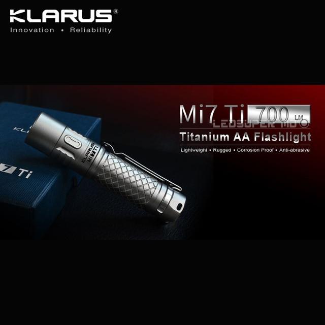 En çok satan KLARUS Mi7 Ti 700 lümen CREE XP L HI V3 LED taşınabilir titanyum AA el feneri ücretsiz pil ile